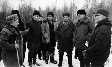 Brezhnev (center) partaking in a hunting outing with Khrushchev (far left) and Finnish President Urho Kekkonen (second from right) in 1963, one year before Khrushchev's ousting.