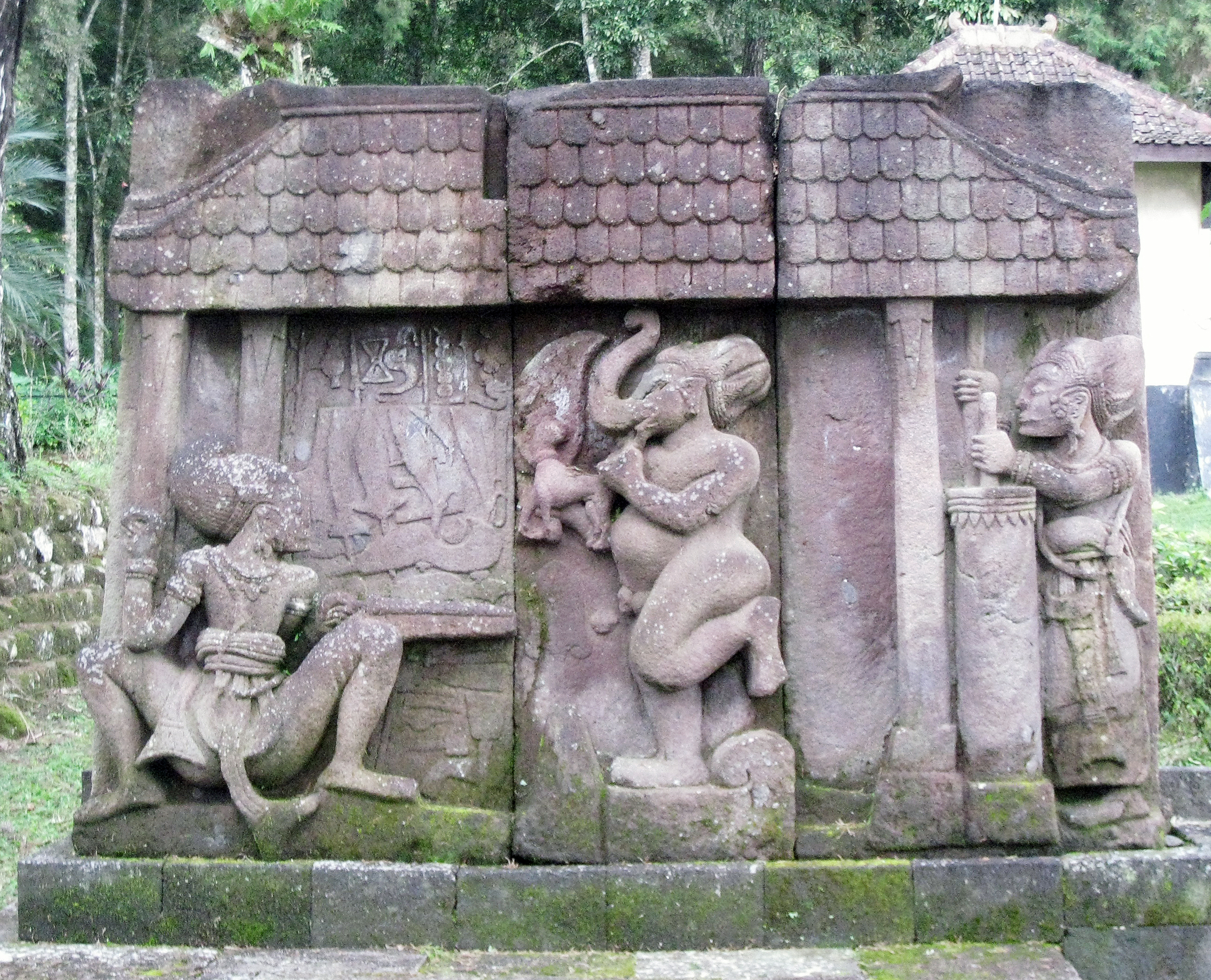 The bas relief in the Sukuh Temple in Java, which archaeologists say was built in AD 1361. The three scenes depict the Hindu god Bhima (left) as a blacksmith forging the metal, while his brother Arjuna (right) pumps air into the furnace. The elephant god Ganesha watches over the process in the centre. Photo credit: Wikimedia