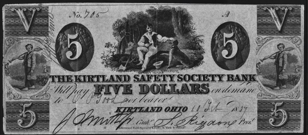 A five dollar note from the Kirtland Safety Society Bank, courtesy of Wikimedia commons