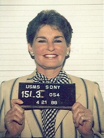 Mug shot of Leona Helmsley, 21 April 1988.