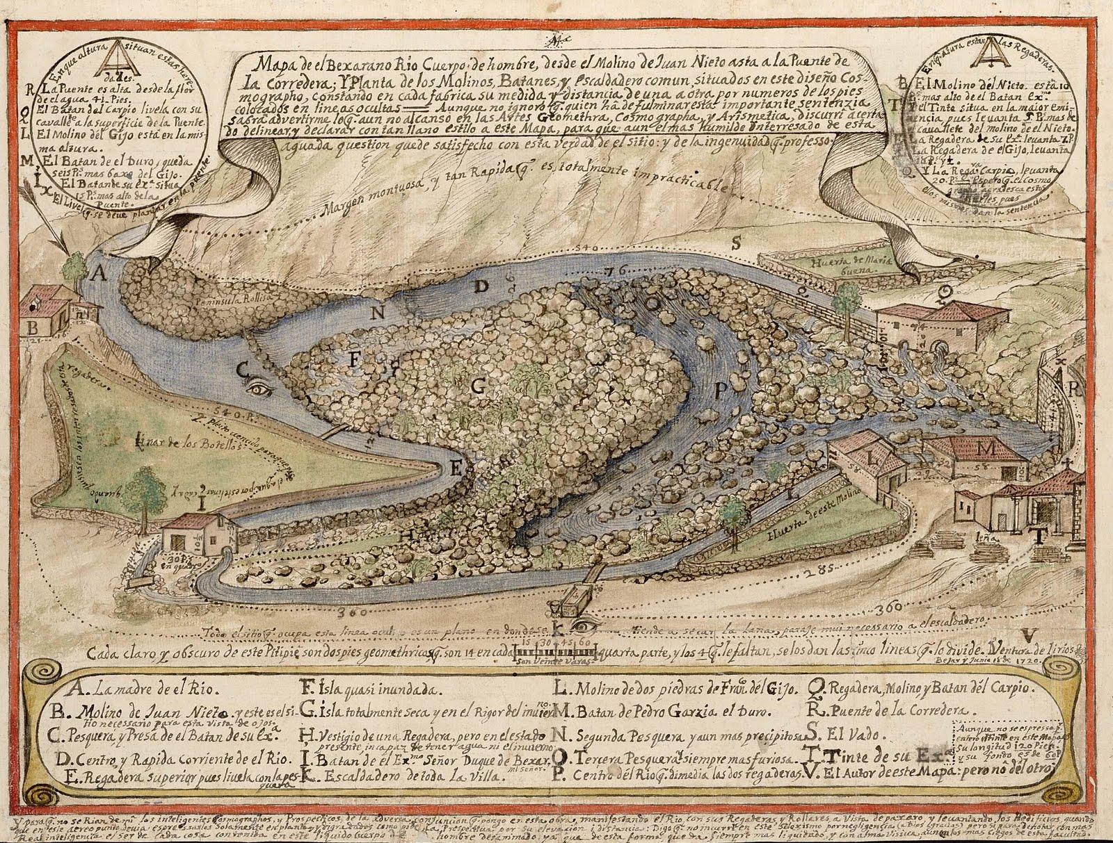 Mapa del río Cuerpo de Hombre desde el molino de juan nieto al puente de la Corredera en Bejar