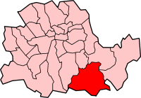 Metropolitan Borough of Lewisham shown within the County of London