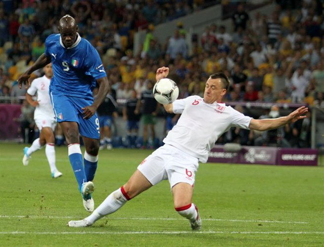 Mario Balotelli and John Terry England-Italy Euro 2012