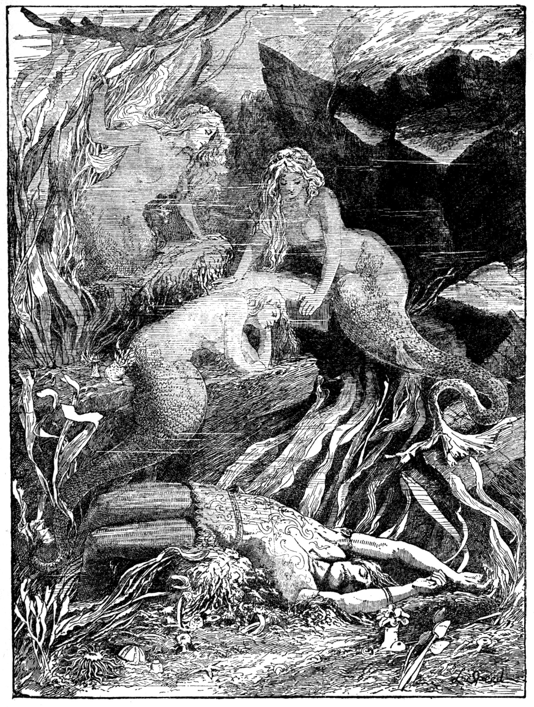 Imagem em preto e branco de três sereias sobre rochas e, no chão, um homem caído.