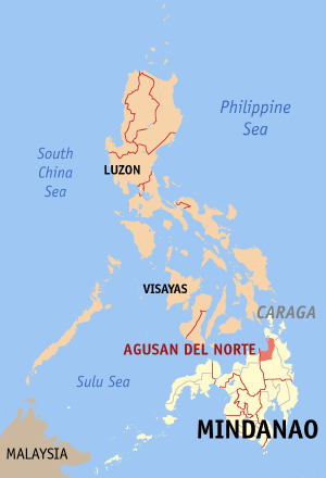 Map of the Philippines with Agusan del Norte h...