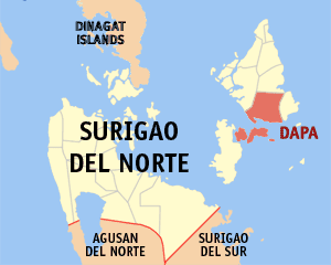 Map of Surigao del Norte showing the location of Dapa