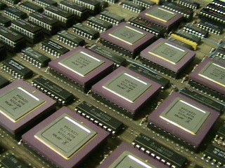 Part of the CPU board of a Prime minicomputer.