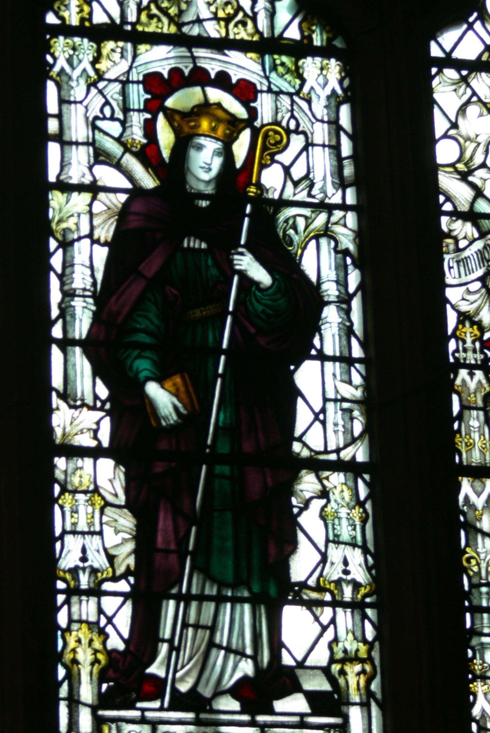 Den hellige Sexburga, glassmaleri fra refektoriet i Chester