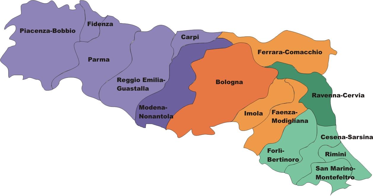 Cartina Italia Emilia Romagna.Regione Ecclesiastica Emilia Romagna Wikipedia