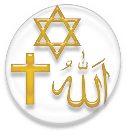 Symbols of the three main Abrahamic religions - Judaism, Christianity, and Islam ReligionSymbolAbr.PNG