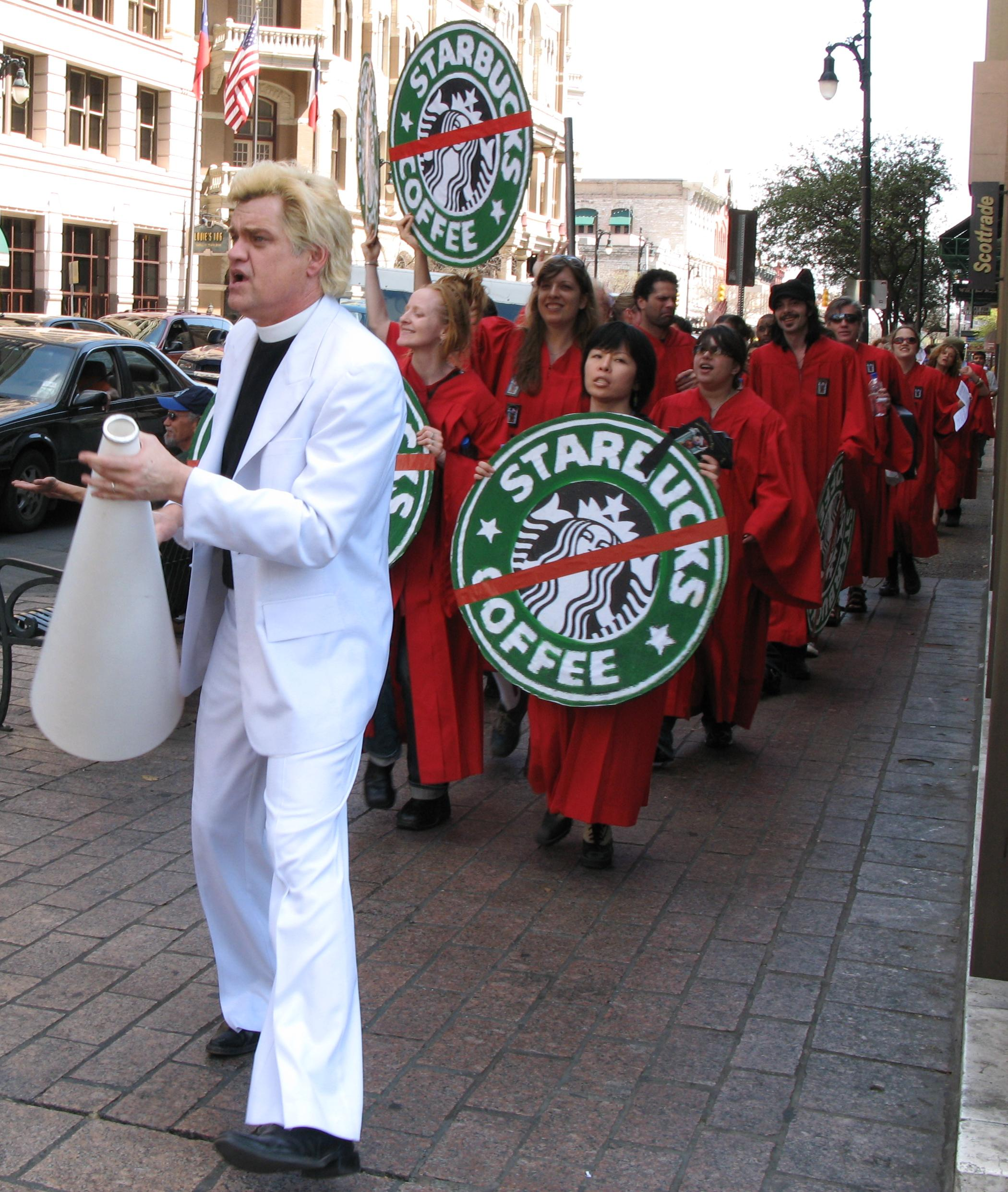 The Reverend Billy leading an anti-Starbucks protest in Austin, Texas in 2007