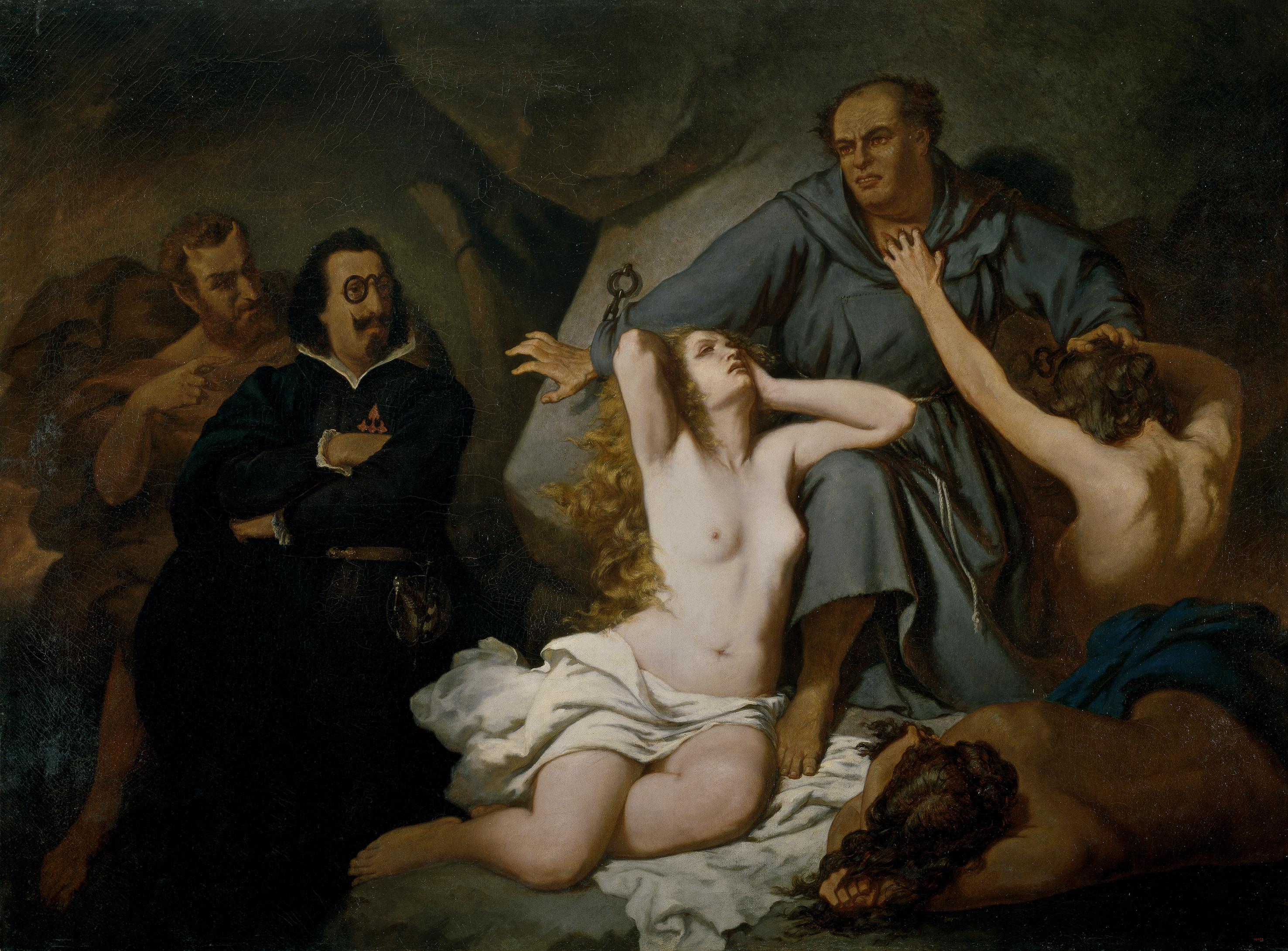 Lutero: asunto tomado de El sueño del Infierno de Quevedo (1858), óleo de Francisco Sans Cabot