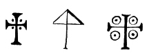 A series of crosses from the sigillum cereum of Beatrice of Bar when donating property to San Zeno, Verona (1073).