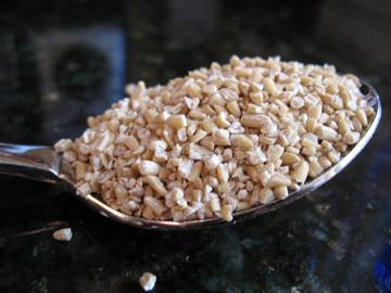 Spoonful of steel cut oats. Looks funny, tastes great.