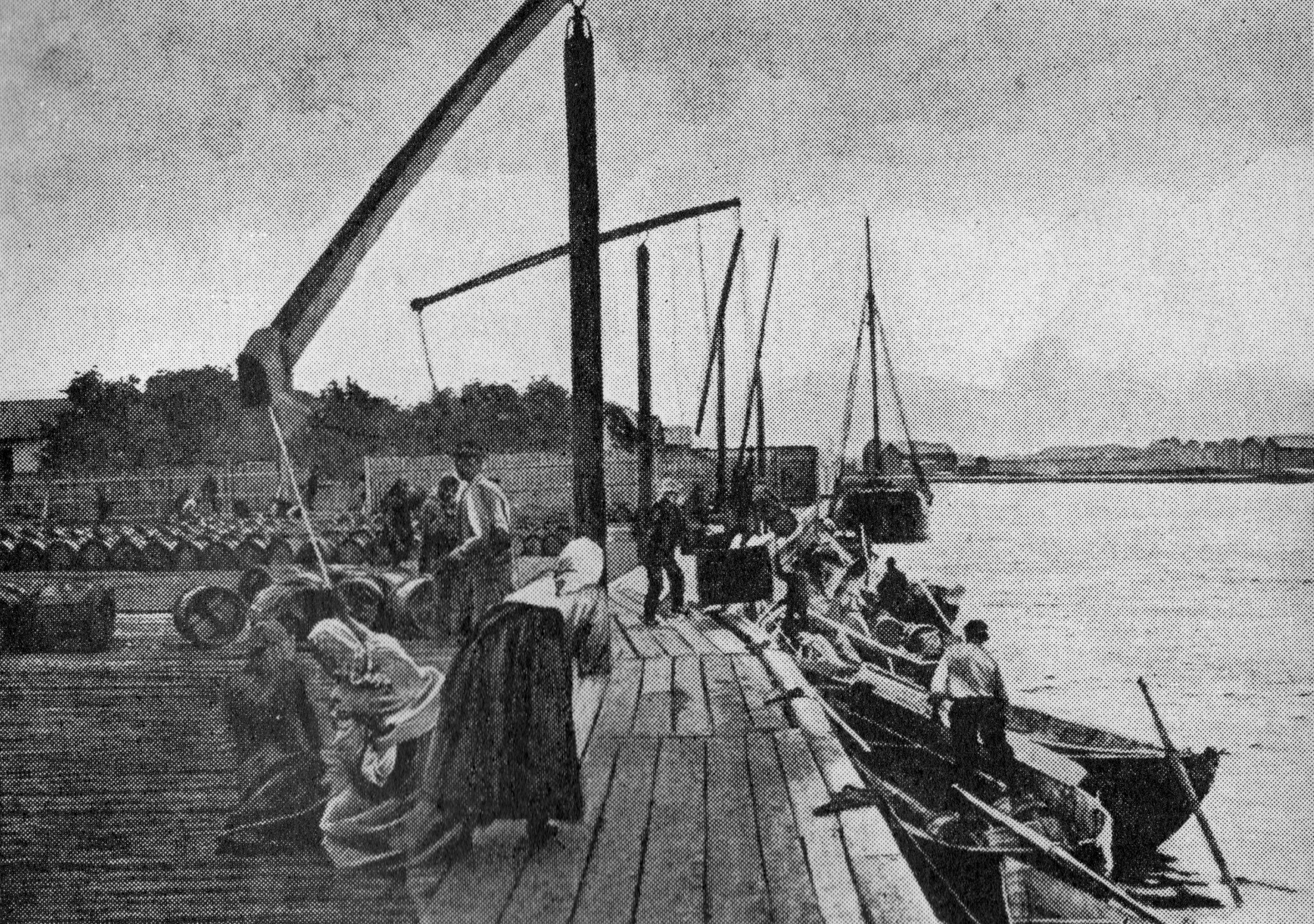 Porto de Oulu antes de ser destruído por um incêndio em 1901. Fotogravura baseada em imagem de I. K. Inha.