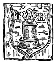 The foundry stamp of Thomas Hatch, showing a shield bearing a bell with the initials T and H on either side
