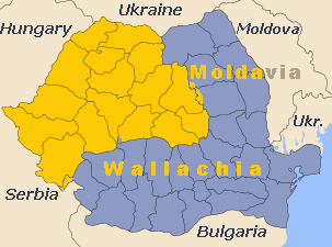 Map of Romania with Transylvania in yellow