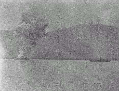 Vizcaya explodes in the Battle of Santiago de Cuba
