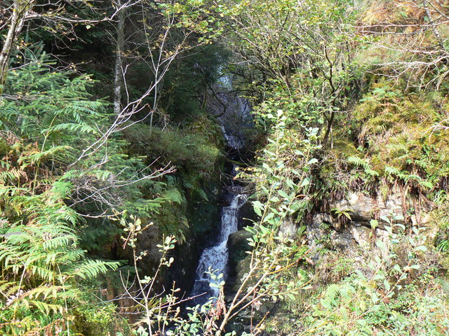 Waterfall above Ardentinny - geograph.org.uk - 581503