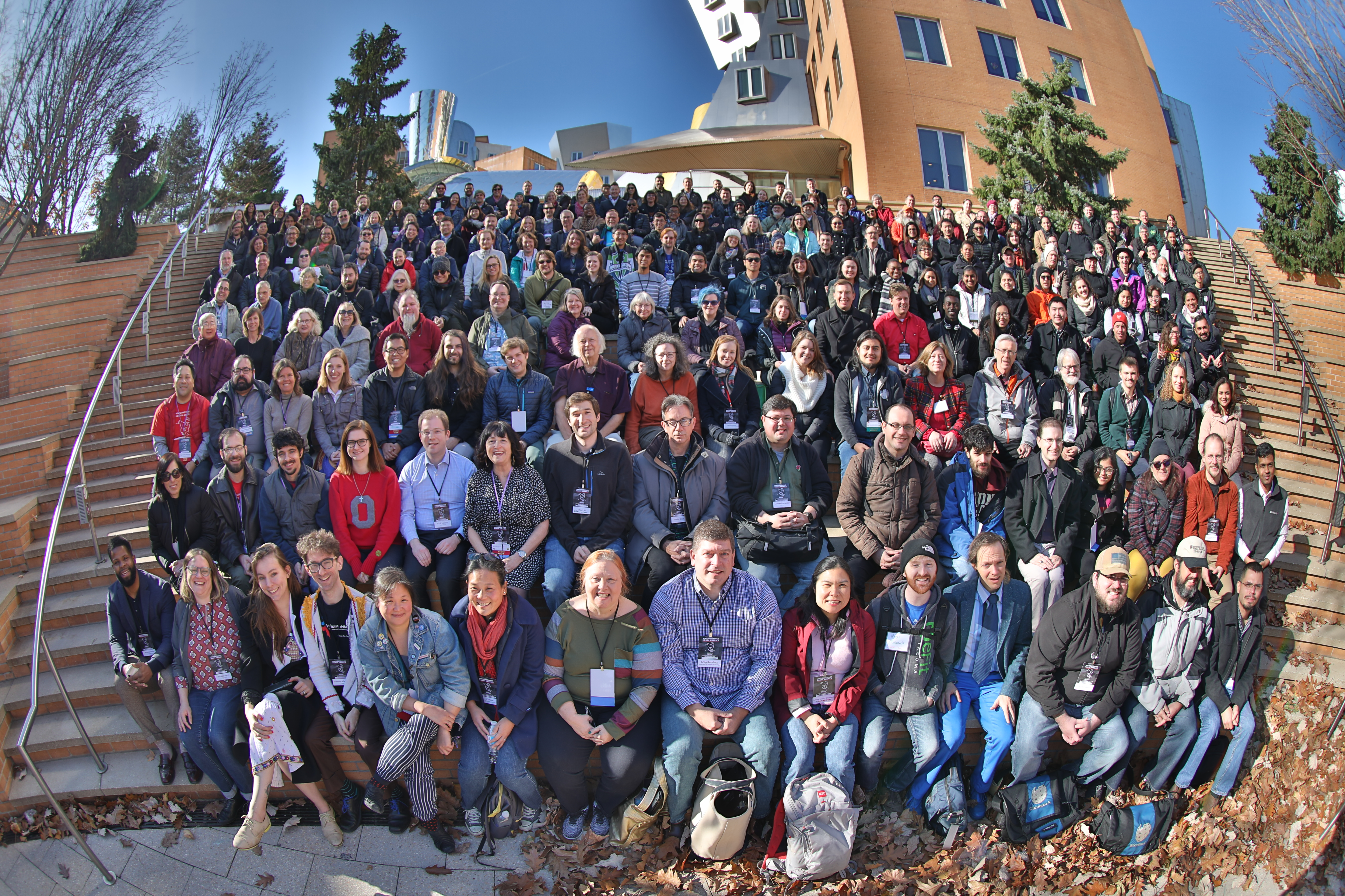 An outdoor group photo of the attendees of WikiConference North America 2019