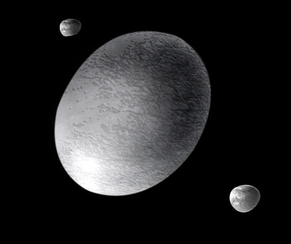 Haumea et ses satellites, vue d'artiste par A. Feild (Space Telescope Science Institute) ([1]) [Public domain], via Wikimedia Commons