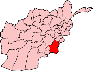 Map showing Paktika province in Afghanistan
