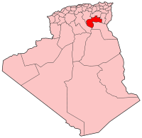 Map of Algeria showing Biskra province