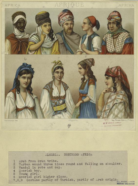 File:Algerian men and women in traditional dress (1876 ...