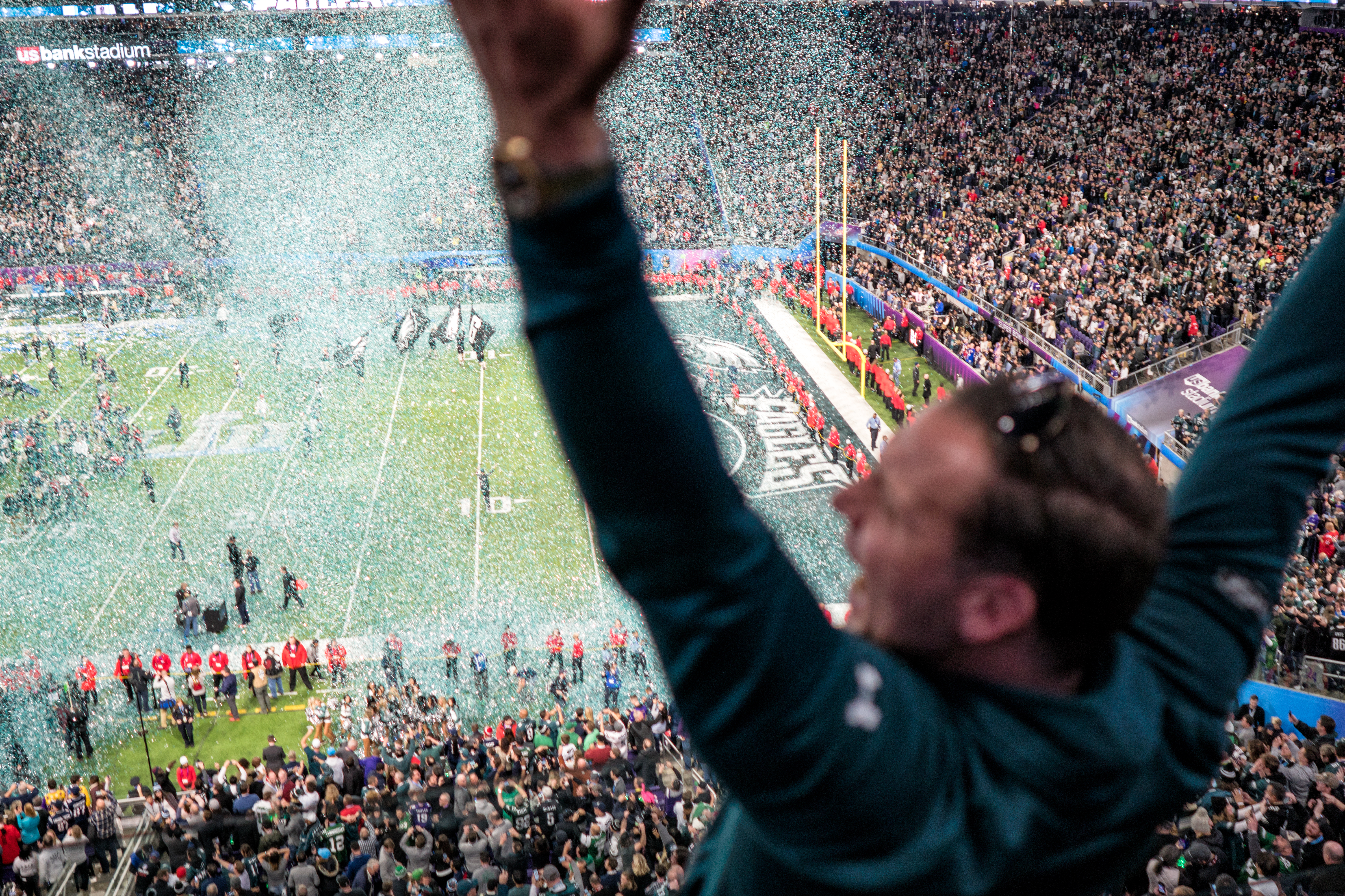 f68a4e4ee An Eagles fan in attendance at U.S. Bank Stadium celebrates following the  team's victory at Super Bowl LII.