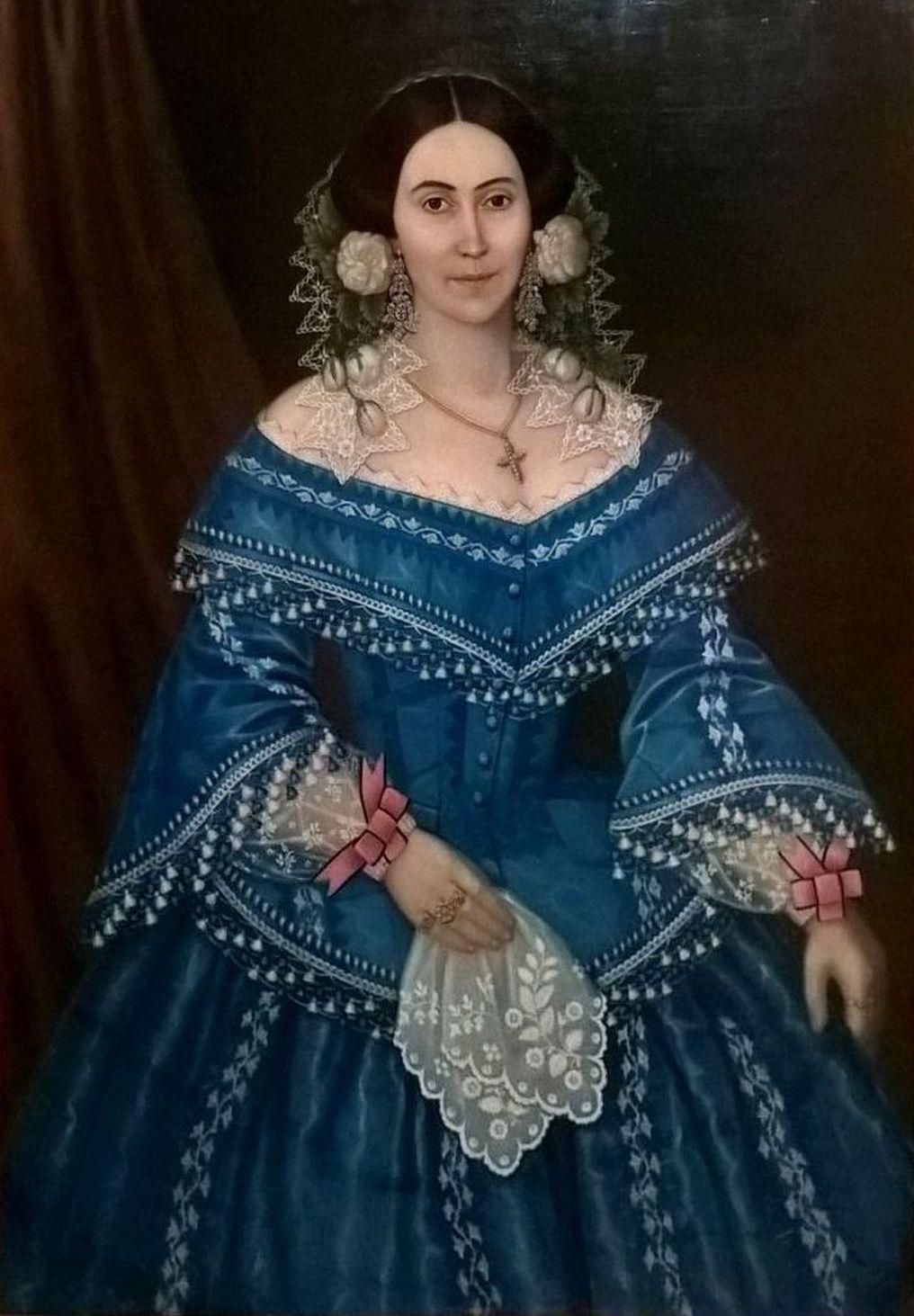 Imagini pentru Anton Chladek, Portret de femeie cu rochie albastră