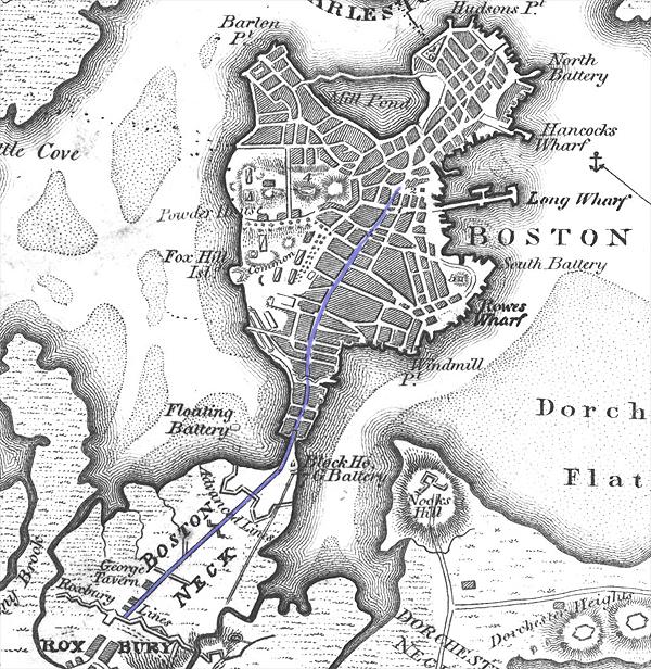 map of colonial boston area Boston Neck Wikipedia map of colonial boston area