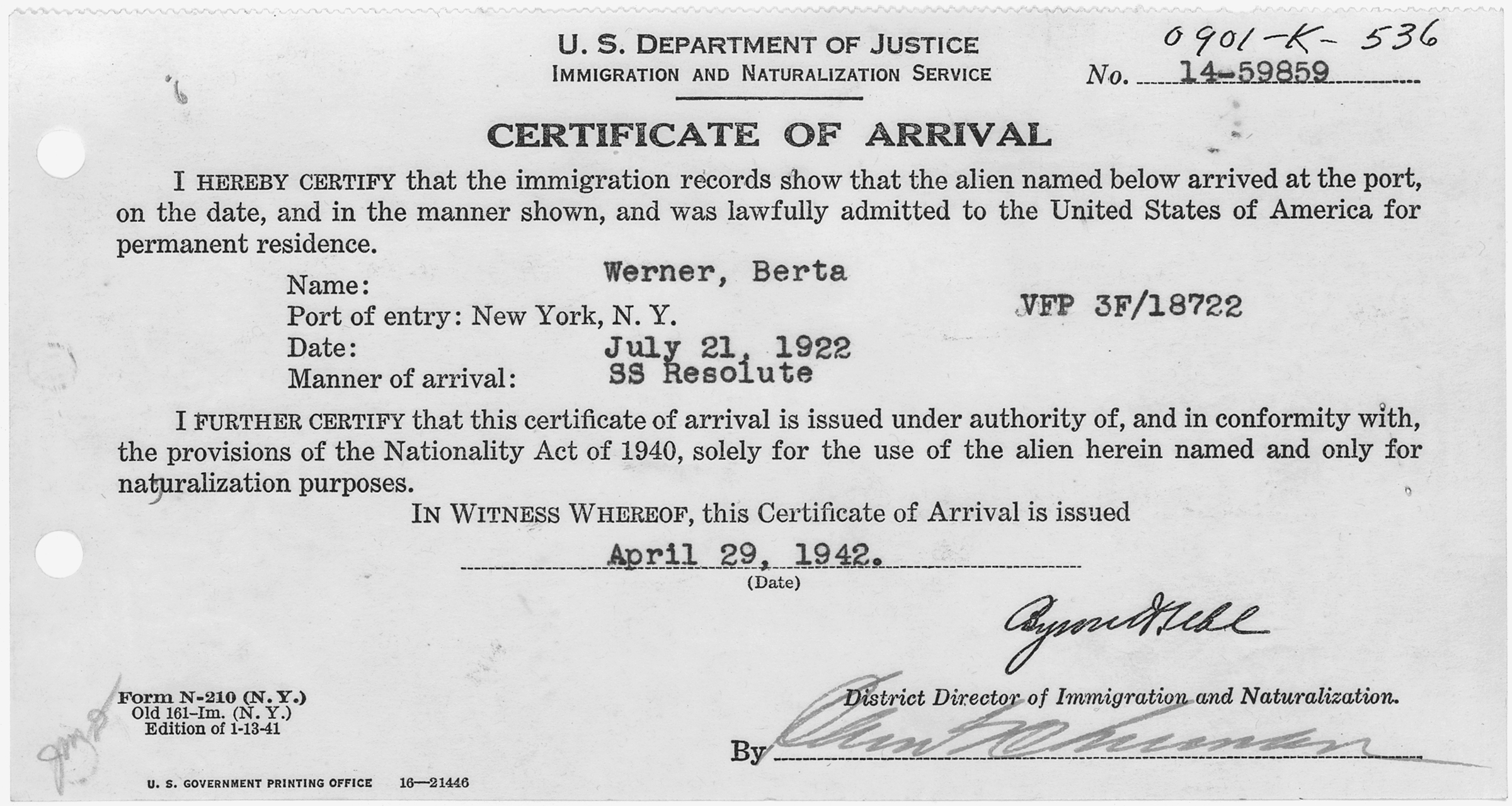 Filecertificate of arrival for berta werner nara 282038g filecertificate of arrival for berta werner nara 282038g yadclub Image collections