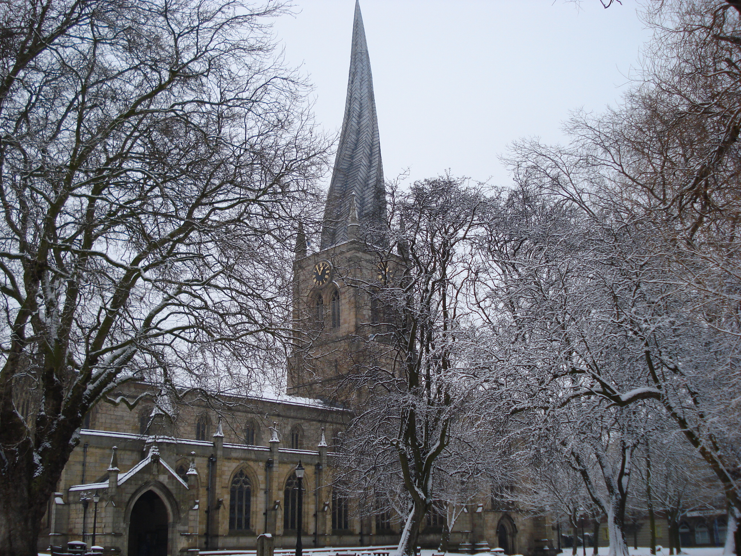 K Chesterfield Description Crooked Spire, Chesterfield in the Snow.JPG