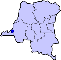 Map of the Dem. Rep. of the Congo highlighting the city-province of Kinshasa