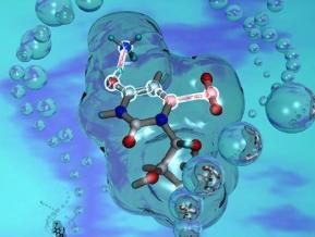 Computer-generated image depicts a molecule reacting to form a DNA base
