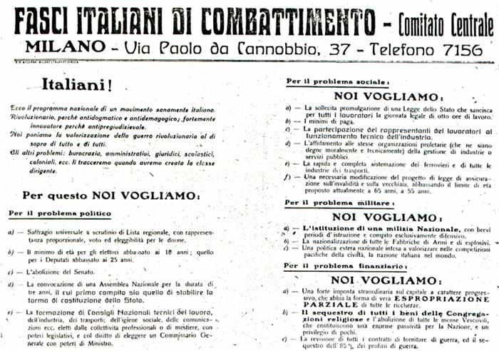 the Fasci italiani di combattimento manifesto as published in Il Popolo d'Italia on 6 June 1919