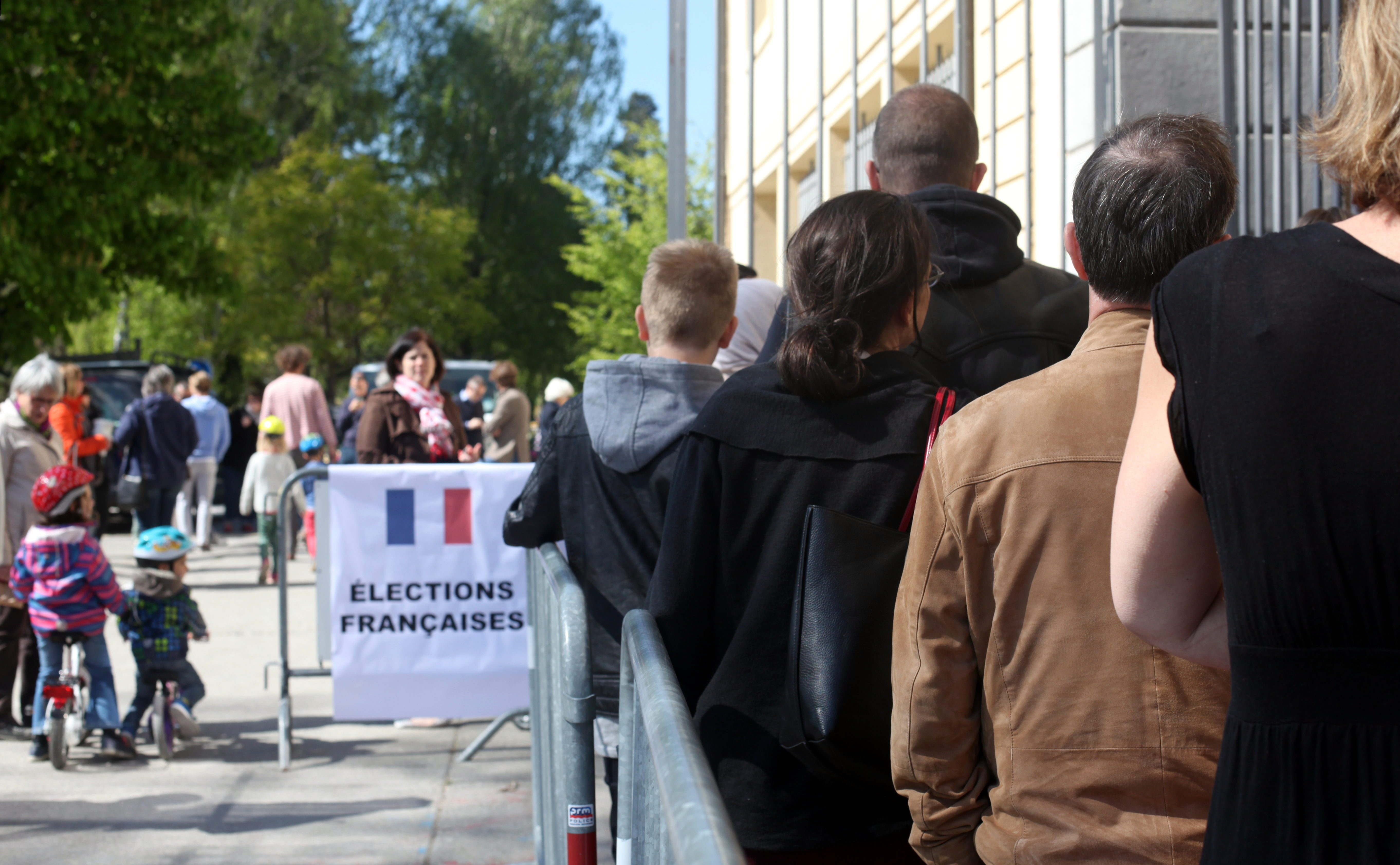 A voting line of french expatriates in morges switzerland