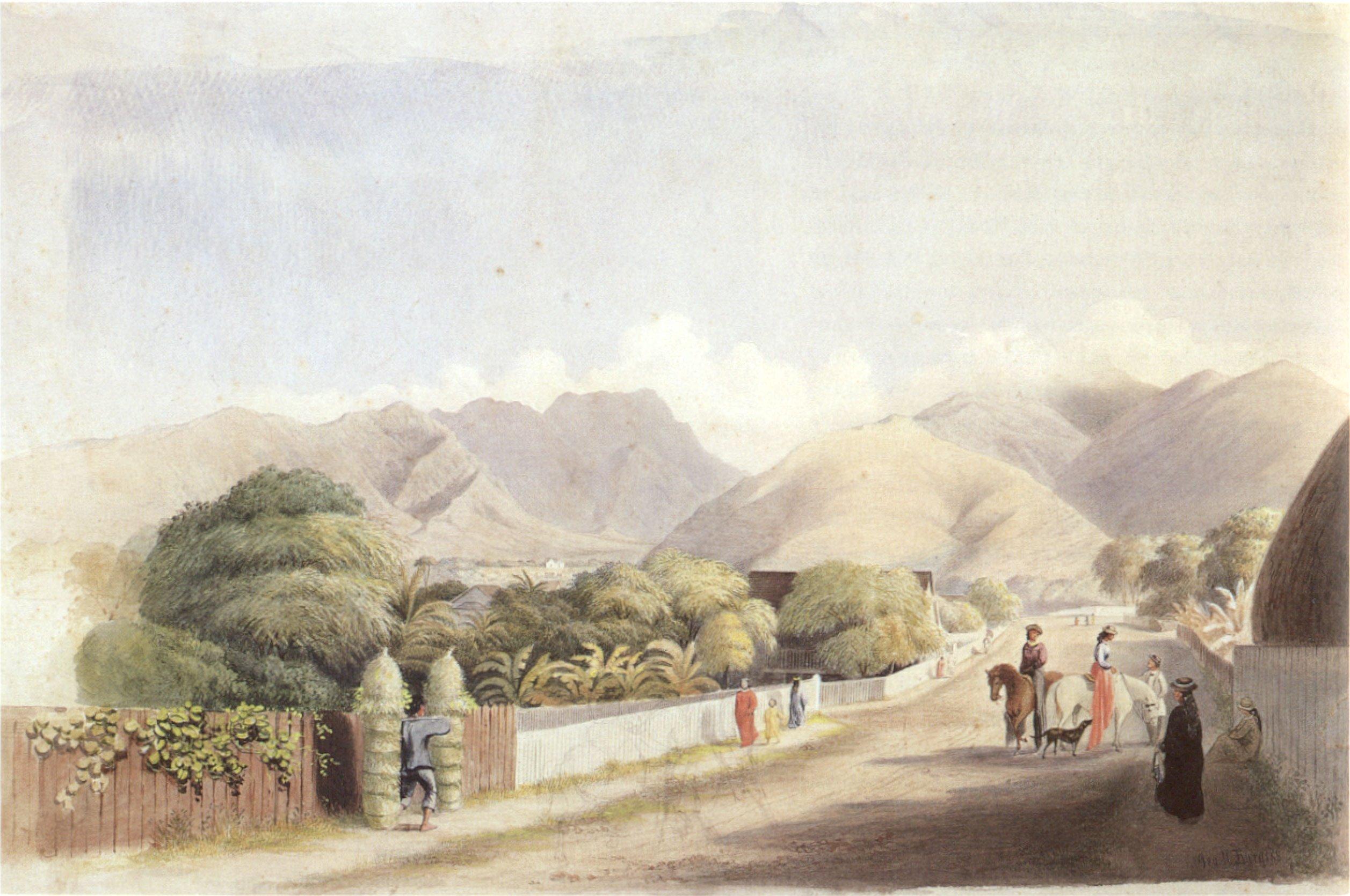 History of watercolor art - File George Henry Burgess Upper Fort Street Honolulu Watercolor Over