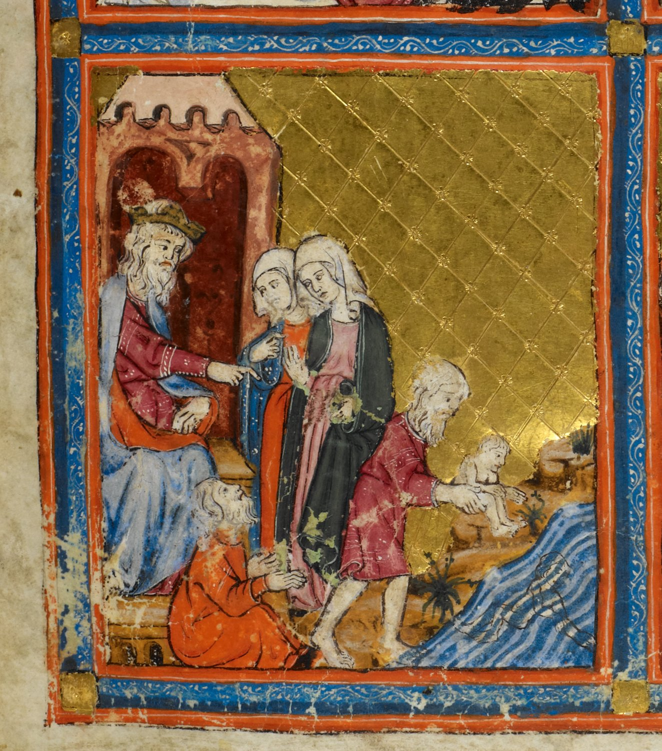 Golden Haggadah Pharaoh and the Midwives