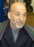 [Afghan President 'Hamid Karzai' meets with Secretary of Defense Donald H]