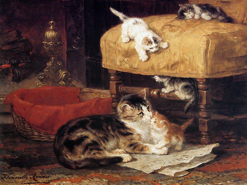 Waiting by the Chimney by Henriëtte Ronner-Knip