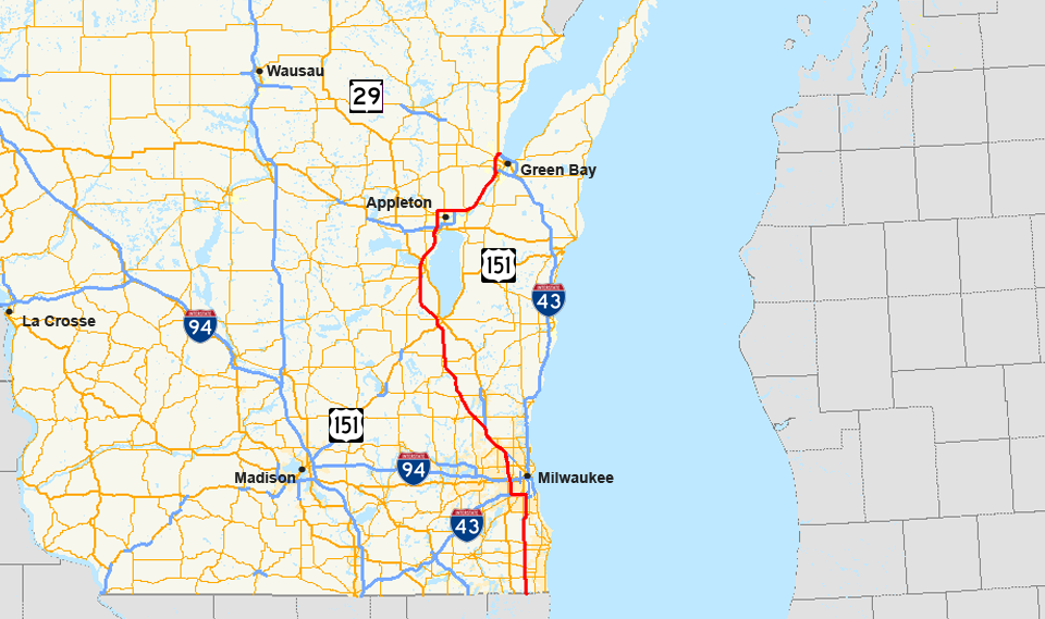 Interstate Wikipedia - Wisconsin state map of us