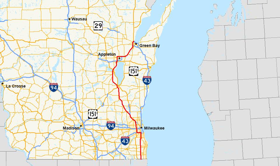 Interstate Wikipedia - Us 41 map