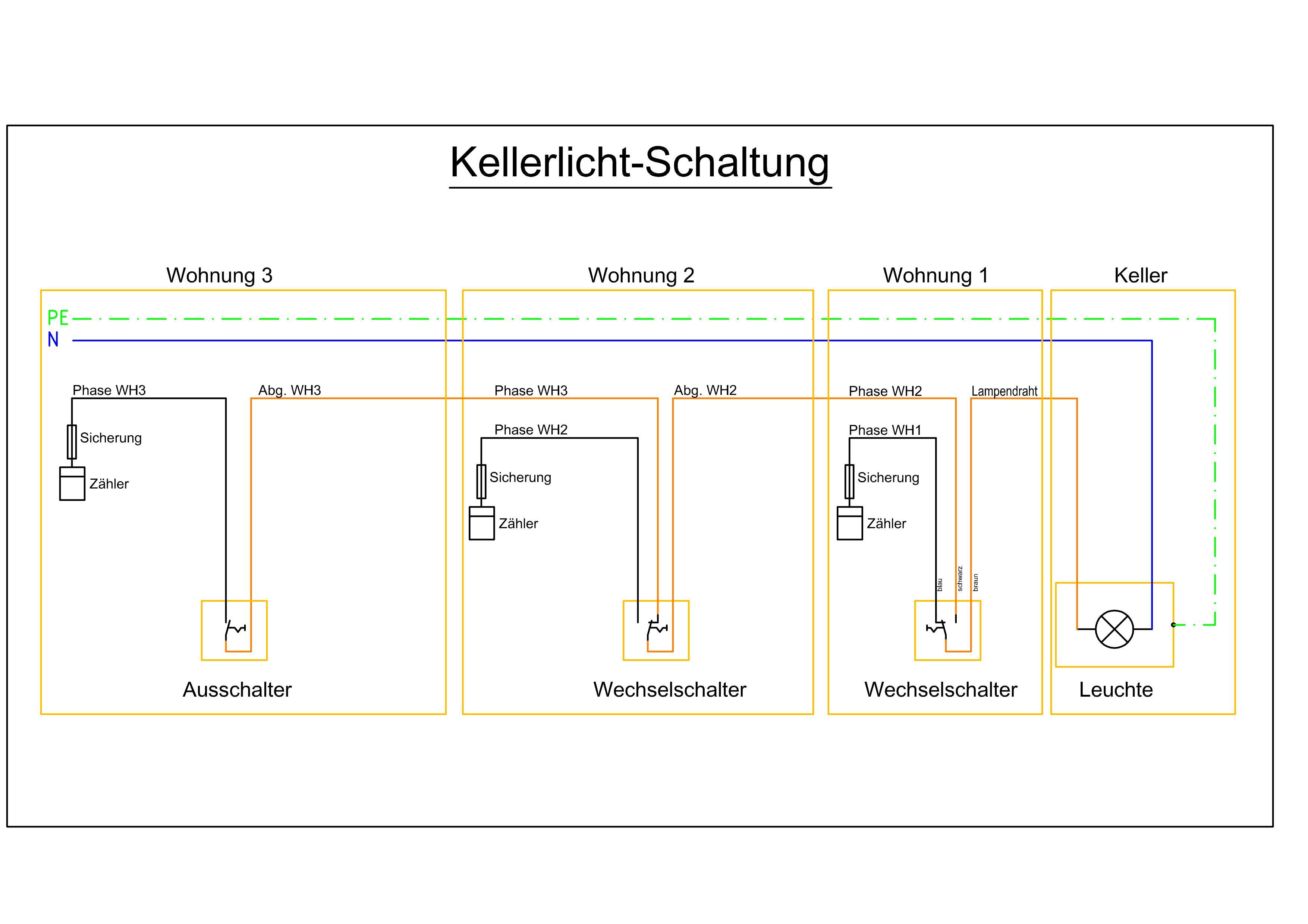 Berühmt Verdrahtung Lichtschaltung Ideen - Elektrische Schaltplan ...