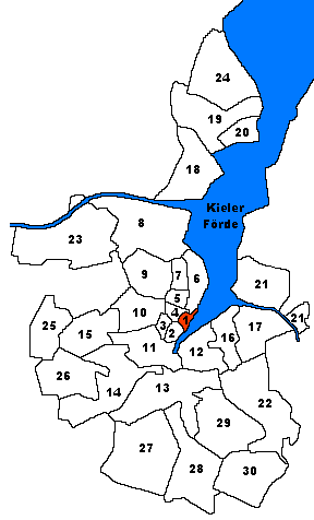 Karte von Kiel. Markiert ist der Stadtteil Altstadt