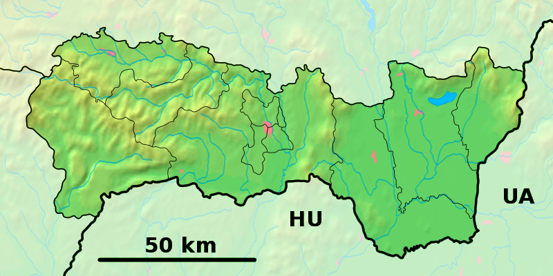 Fichier:Košice Region - physical map.png