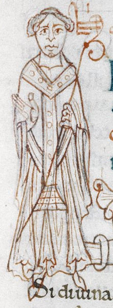 Near contemporary depiction of Lanfranc in Oxford Bodleian Library MS Bodley 569.