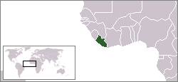 Liberia in green compared to Africa.