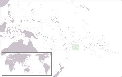 The location o Niue in the Wast Paceefic