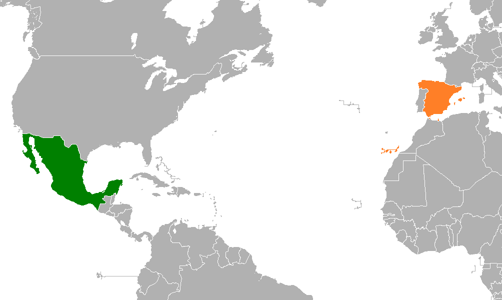 spain and mexico map Mexico Spain Relations Wikipedia